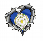 Ripped Torn Metal Heart Carbon Fibre with Yorkshire Rose County Flag External Car Sticker 105x100mm